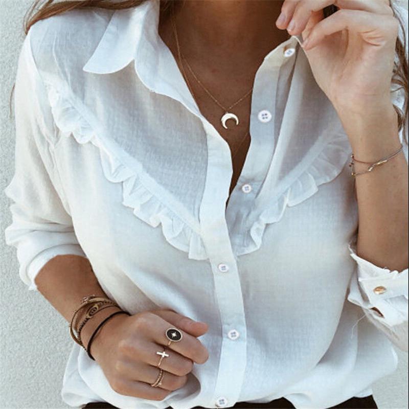 여성 가을 블라우스 빈티지 솔리드 프릴 블라우스 긴 소매 셔츠 오피스 레이디 Camisas Feminina 여성 패션 화이트 셔츠 탑