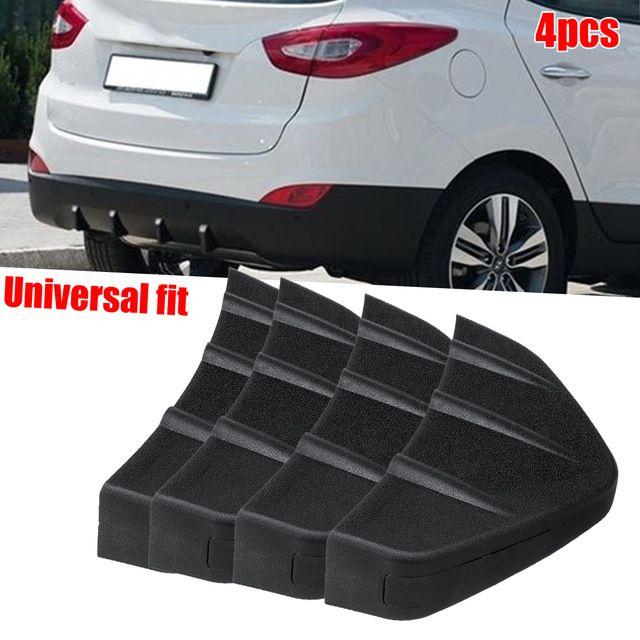 Rear Spoiler,4pcs Car Rear Bumper Diffuser Fin Spoiler Lip Universal Auto Accessory