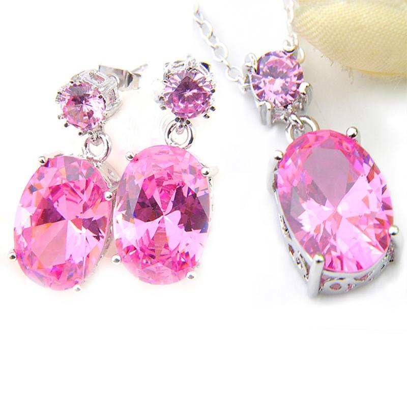 I monili zircone ciondola Orecchini ciondoli gioielli LuckyShine Splendida ovale rosa Kunzite pietra preziosa della donna