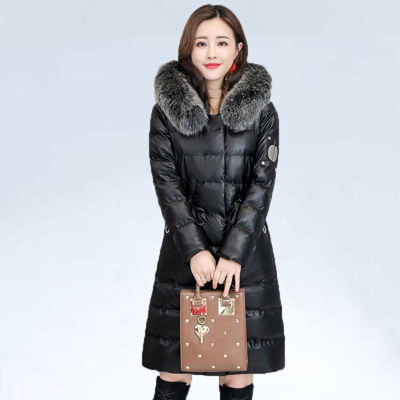 Winter Coat Women PU Leather Jacket Coat Natural fur collar Hooded Coats Warm Down Parka Jackets Zipper High Quality New