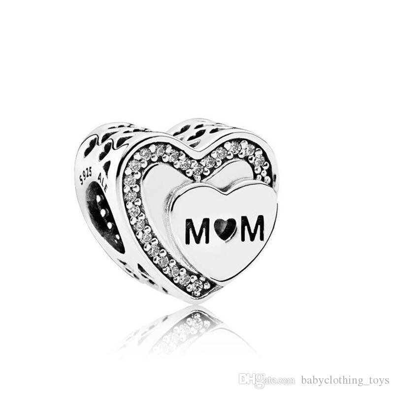 Anneler Günü Hediye Fit For Pandora bilezik DIY Boncuk Charms için anne Aşk Kalpler Charm kolye Gerçek 925 Gümüş Tribute