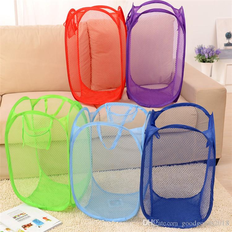Foldable Mesh Laundry Basket Clothes Storage supplies Pop Up Washing Clothes Laundry Basket Bin Hamper Mesh Storage Bag ST789