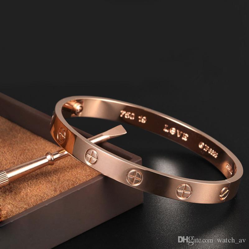 Klasik lüks tasarımcı takı mens bilezik orijinal kutu pırlantalı bilezik düğün setleri ile paslanmaz çelik tornavida 18k altın bilezik, 316L