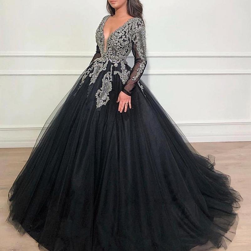 Dubai Arabic Ball Gown Prom Dresses V Neck Long Sleeves Sequined Beaded Lace Applique Sweet 16 Quinceanera Dress Vestidos Evening Gowns