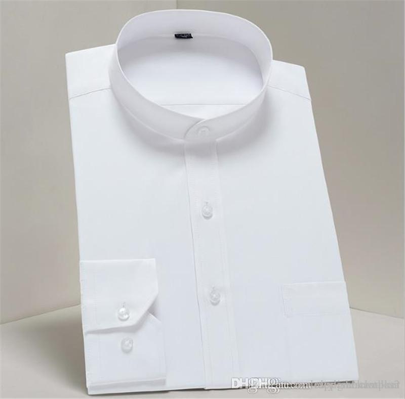 Mens vestido del color sólido camisas de manga larga del collar del mandarín de visita del estilo del Hombre camisetas adelgazan la ropa de moda