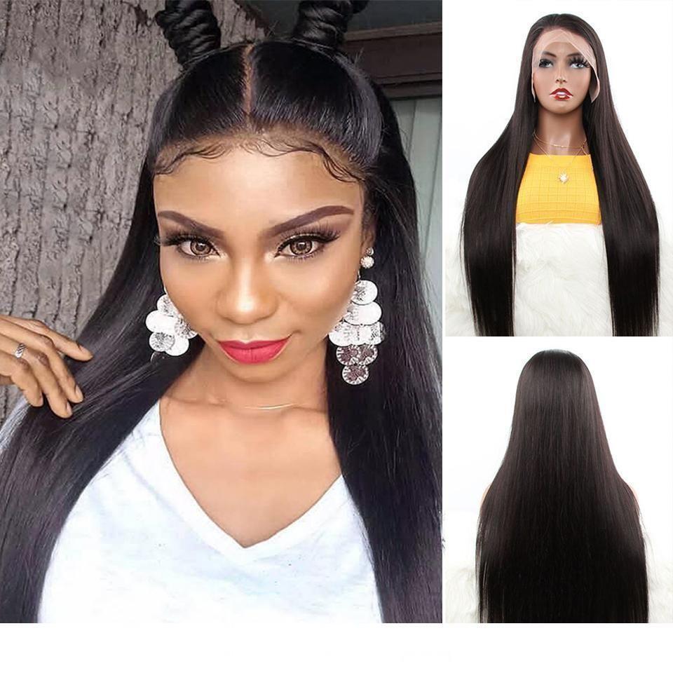 Droite 13 * 4 perruques de cheveux humains avant de dentelle pour les femmes 150% Densité péruvienne perruques de cheveux humains RARE cheveux raides Perruques humaine avant de dentelle