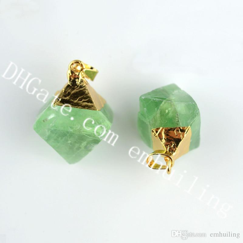10Pcs Gold Plated Edge Fluorite Stone Diamond Pendants 10-20mm Mini Octahedron Natural Raw Rough Green Fluorite Crystal Rock Charm Pendant