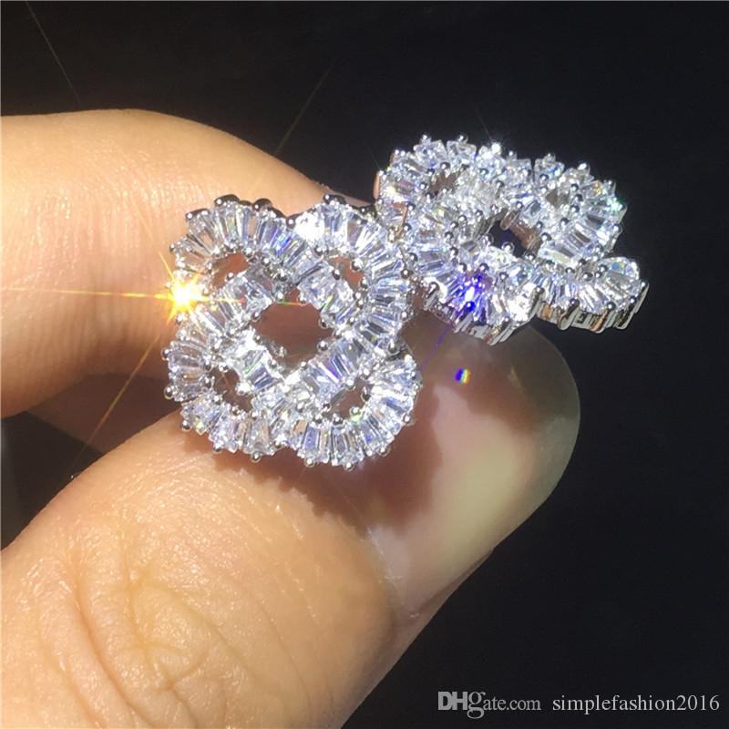 Charm Flower shape Earring 925 Sterling silver Diamond Cz Engagement wedding Stud Earrings for women Bridal Party Gift