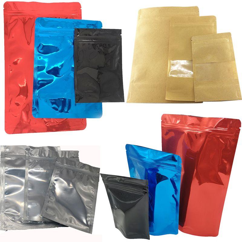 OEM пустые пластиковые майлар сумки алюминиевая фольга молния замок встать Pounch упаковка мешок для долгосрочной защиты цветок хранения продуктов питания Resealable