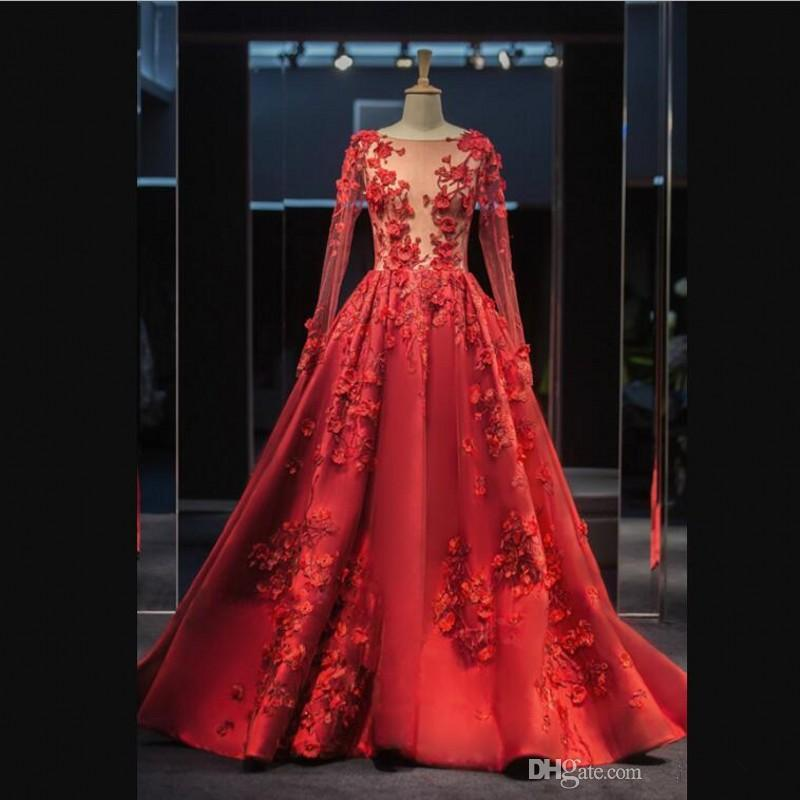 Illusion Sexy cou Robes de bal à manches longues en dentelle Jewel Cocktail Appliques Robes balayage train élégante soirée robes robes de soirée