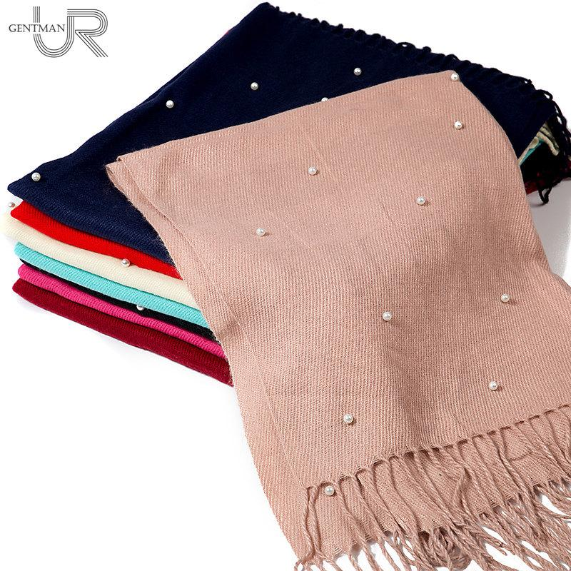 Women Fashion Scarf Pearl Design Solid Color Cashmere Scarves With Tassel Lady Winter Thick Warm Scarf High Quality Female Shawl
