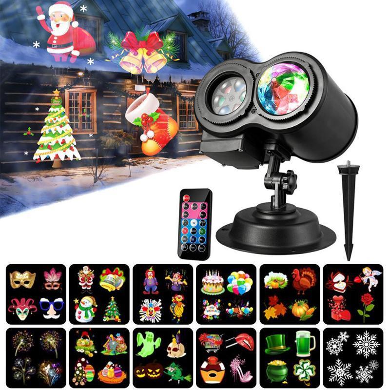 LED Projector Lamp Double Barrel Water Wave projector de luz 12 padrões para Halloween Party Natal com controle remoto