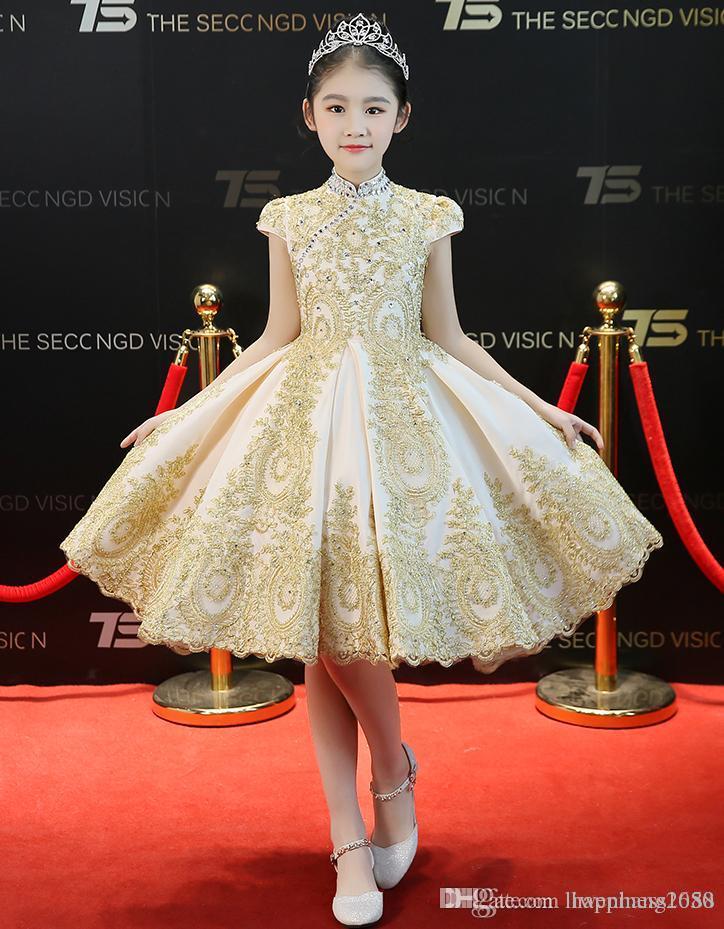 Beauty Champagne Applique Beads Knee Girl's Pageant Dresses Flower Girl Dresses Princess Party Dresses Child Skirt Custom Made 2-14 463373
