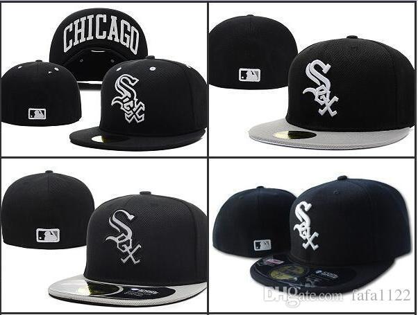 Uomini di vendita caldi sul campo White Sox montato cappello Top qualità piatto bordo embroiered Lettera SOX Team logo fan baseball Cappelli full closed Chapeu