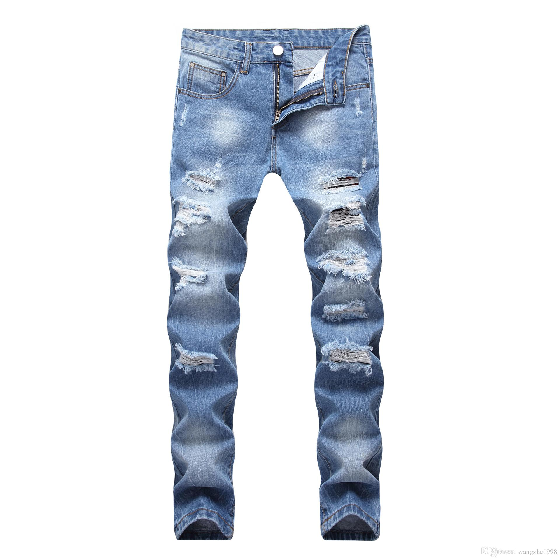 Fashion Mens Spring Straight Slim Fit Biker Jeans Pants Distressed Skinny Ripped Destroyed Denim Jeans Washed Hiphop Trousers Black Blue