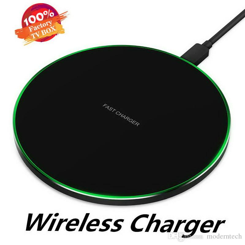 Wireless QI Quick Charger Pad 5V 2A 10W Fast Charging Smooth Metal Cellphone With LED Design For Iphone 11 Xs For Huawe Mate20 Xiaomi