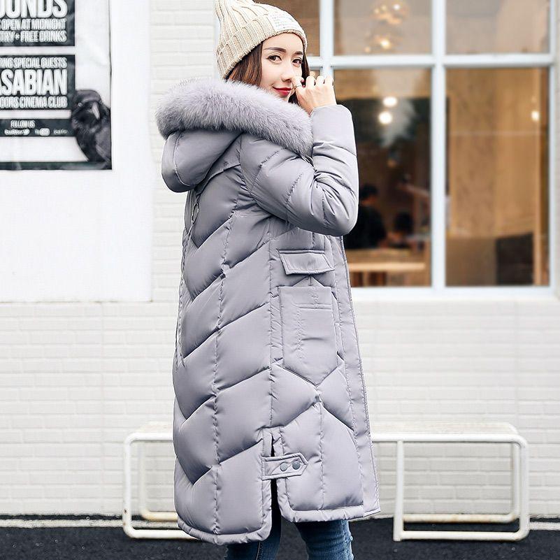 Aonibeier longo parkas inverno quente Brasão de algodão acolchoado Jacket mulheres maiores Faux Fur Collar capuz fino Feminino Longo Overcoat fz0200