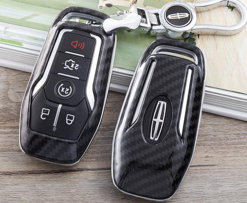 Caso della copertura di caso chiave in fibra di carbonio Lincoln ABS Shell di plastica protettiva per Lincoln MKX MKZ MKC portachiavi portachiavi
