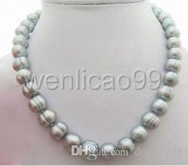 Collier de perles baroques grises naturelles de la mer du Sud, 10 à 10 mm de diamètre, 18 pouces