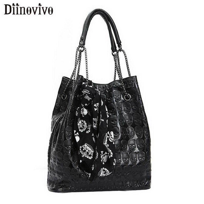 DIINOVIVO Skull Skeleton Women Handbag Lady Chain Tote Shoulder Bucket Bag Solid Crossbody Bags For Women Messenger Bag WHDV1442