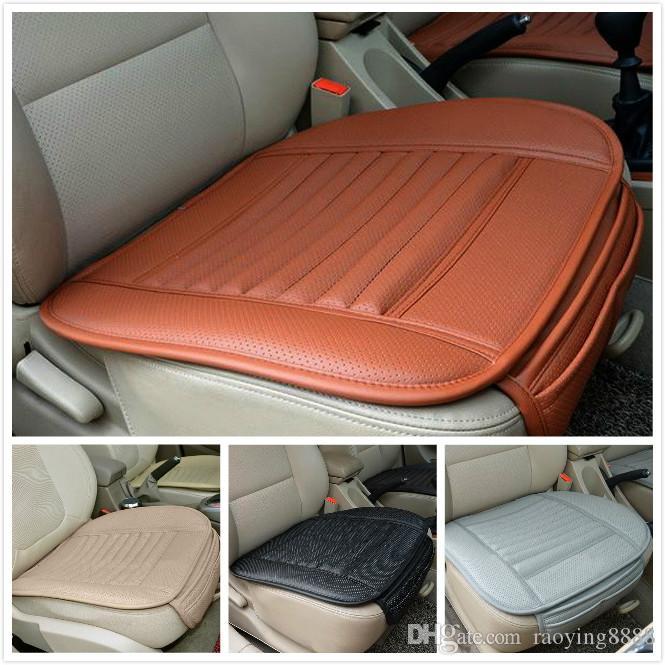 Универсальный автомобильный передних сидения крышки PU кожаного Bamboo одноковшового сиденье протектор Мат Подушка автомобиль Владелец Подушка 4Color