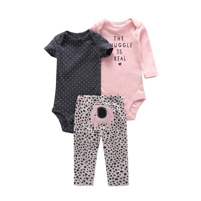 Newborn Boy Set Cotton Infantil Baby Girl Clothes Long Sleeve Bodysuit Letter+pants Animal Elephant 3pcs Pullover Suit Dot Q190520