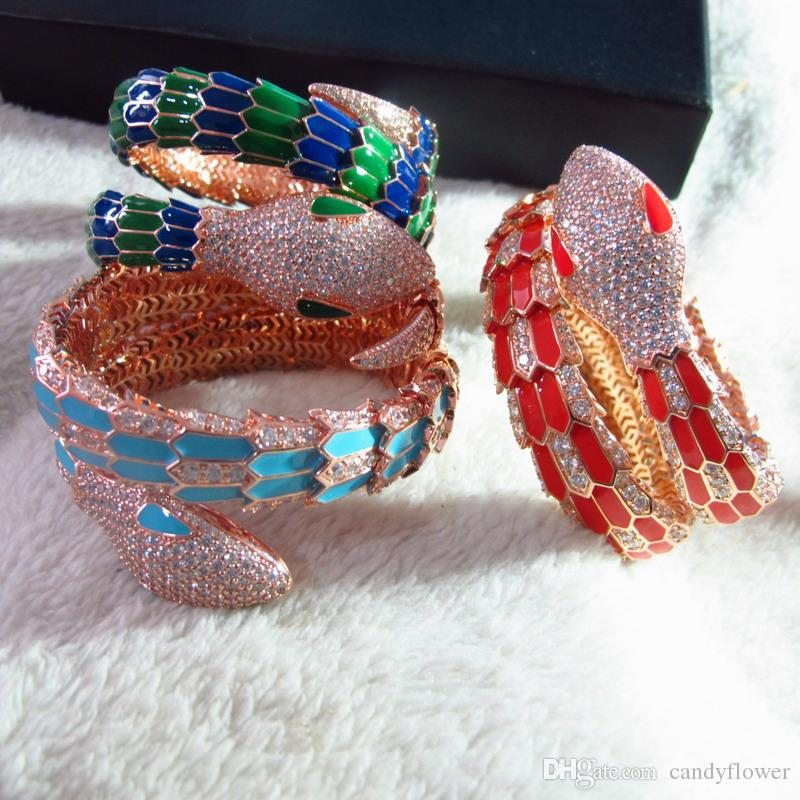 New designer Best quality 2 hoop CZ diamond paved enamel animal cuff bracelet bangle 18k rose/white gold plated PUNK jewelry for women