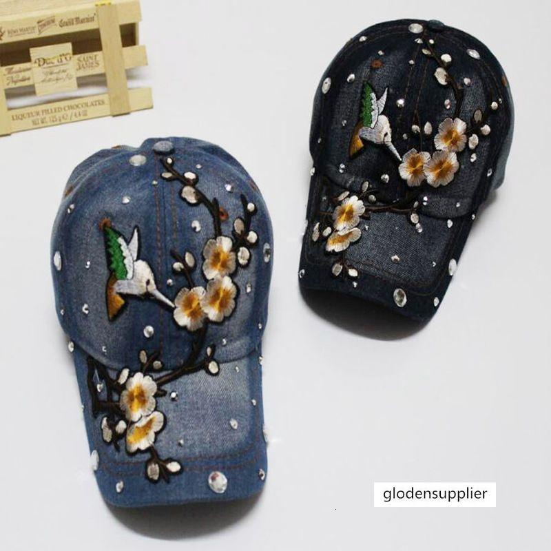 Denim ricamo Huangmei fiore Magpie bastone di diamante del berretto da baseball sport trendsetter curvi cornicioni parasole cappuccio uomini e donne