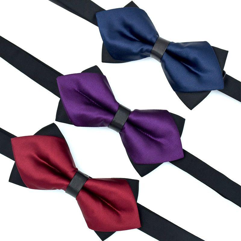 hot Elegant Silk Bowties for Men Butterfly Self Bow Tie Gentlemen Luxury Double Layer Necktie Wedding Party Dress Accessories