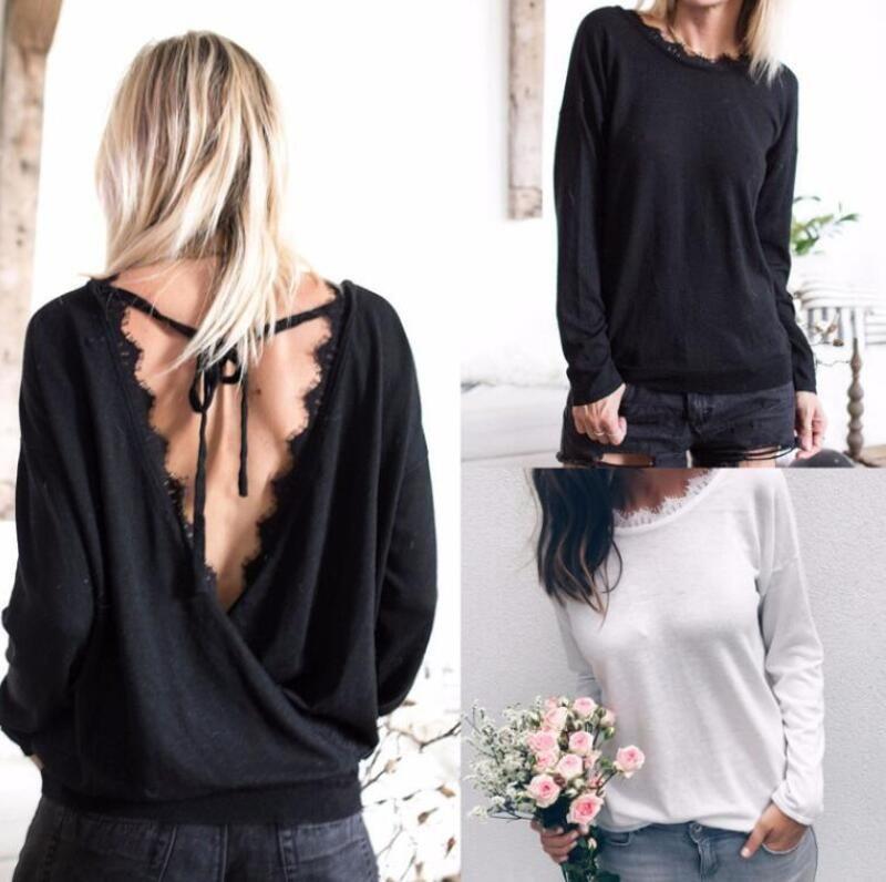 Weiß Schwarz Designer Pullover für Frauen Backless T-Shirts 2020 Frühling beiläufiges Dame Sweatshirts S-XL Großhandel