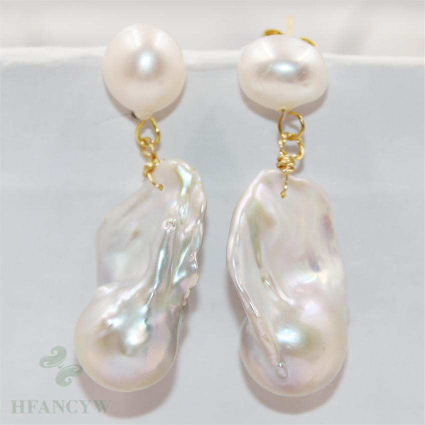 16-28mm Gray Baroque Pearl Earrings Hook Cultured Aurora Earbob Women Fashion Natural Flawless Dangler Chic Classic