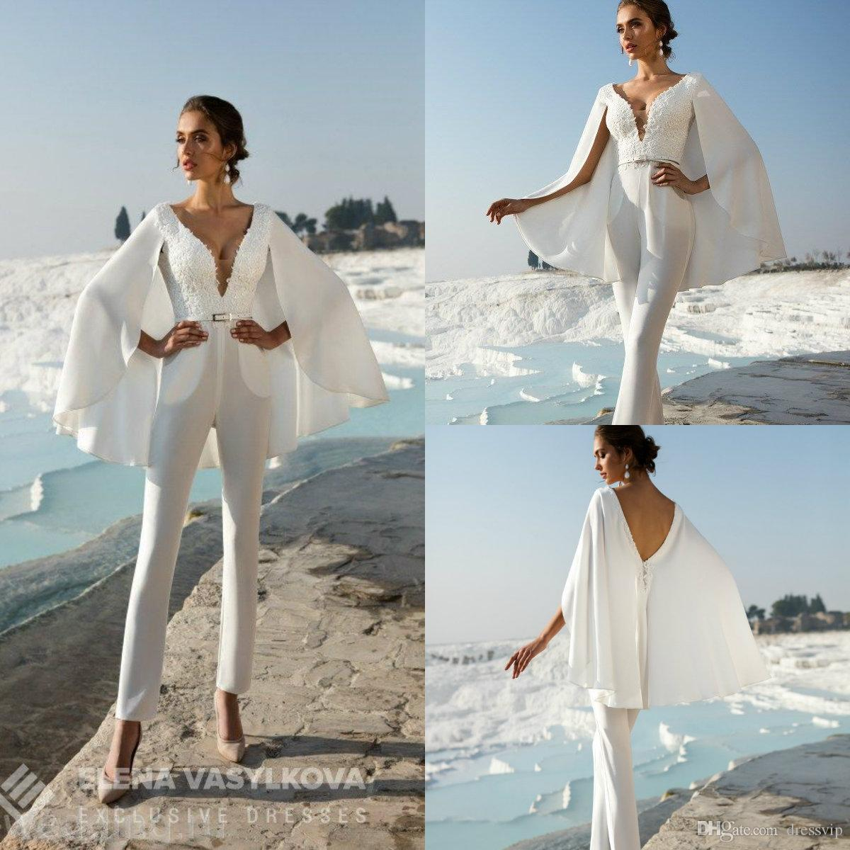 2020 Beach Wedding Jumpsuits With Wrap Lace Applique Deep V Neck Belt Boho Wedding Dress Custom Made Plus Size Robes De Mariée