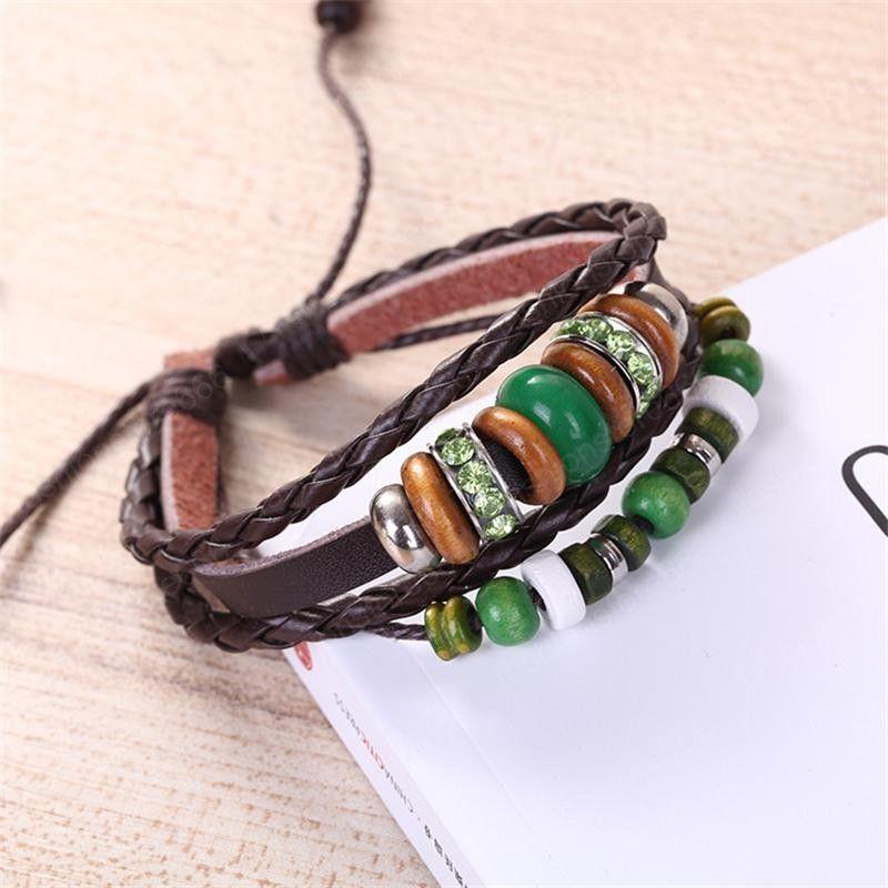 Opal Bead Leather Bracelets Crystal Diamond Bracelet Multilayer Adjustable Braided Wrap Jewelry for Women Girls Fashion Gift Chain Wristband