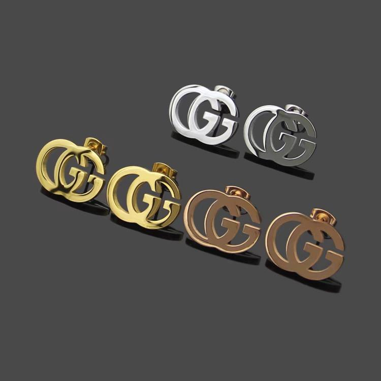 New Arrival Wholesale Price stamp letter Stud Earrings 18K Gold plated 3 colors 316L stainless steel Women's Earrings Free Shipping