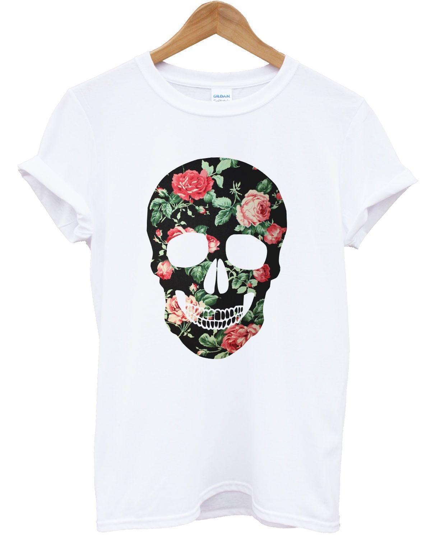 Acquista T Shirt Floreale Con Teschio Colorato Stampa Tumblr Indie Hipster Rosa Donna Top Uomo Girl Size Discout Hot New Tshirt Denim Abbigliamento