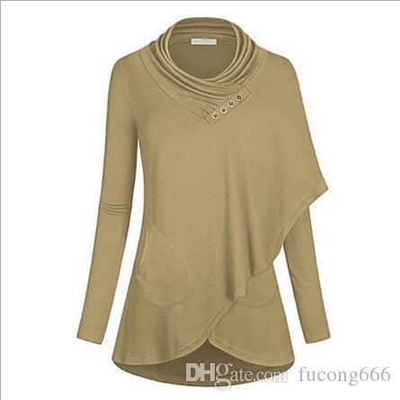 02Neue Damen einfarbiger, langärmeliger Latz aus asymmetrischem, lässigem Pullover