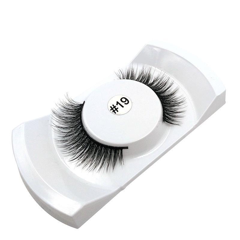 1 Par de Pestañas Falsas Maquillaje Natural 3D Pestañas Largas Falsas Pestañas Extensión de Pestañas Tira de Ojos Pestañas Sin Imán # 19