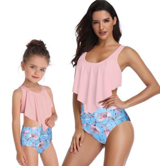 2019 enfants fendus maillot de bain imprimé bikini taille haute avec des femmes pour volants parents et enfants Sets Bikini femme Bikinis jeu de mode