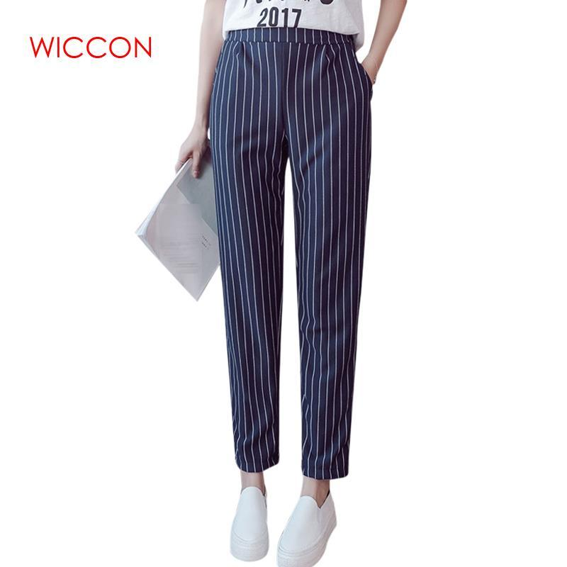 Woman pants Spring Autumn Female Elastic Trousers Women High Waist Stripes Casual Women Pants Work Wear Trousers Harem
