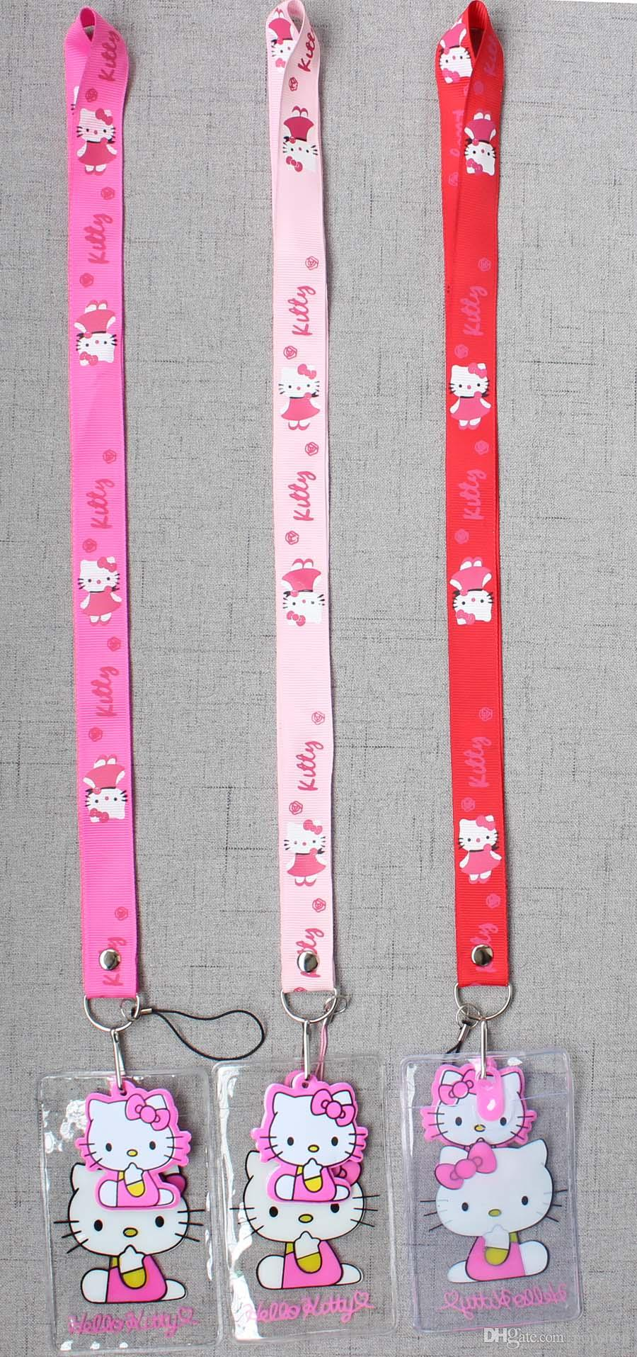 Hello Kitty Red Lanyard with Name Badge /& Hello Kitty Charm With Tracking