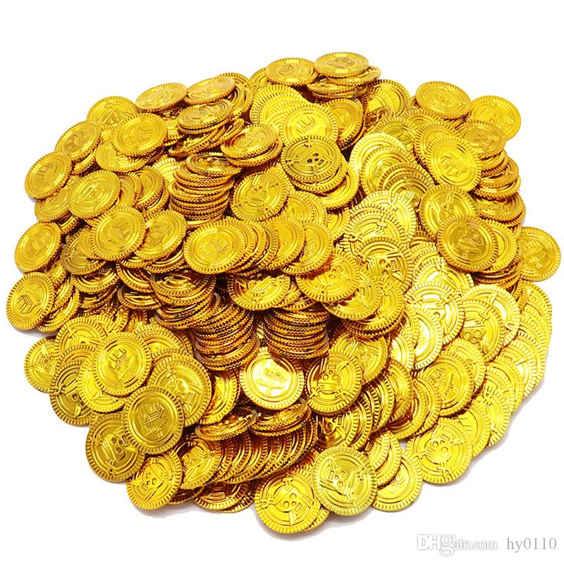 100pcs/lot Pirate Gold Coins Play Money Game Toys Halloween Supplies Party Props Coins Pirate Ship Decorations