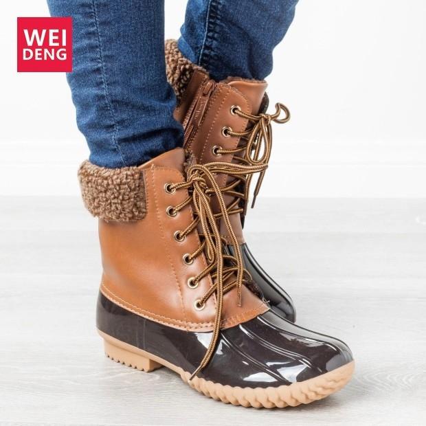 Weideng femmes d'hiver de pluie en cuir Bottes de canard imperméables Chaussures Hommes Couple cheville lacent Antiderapant unisexe adulte Zapatos De Hombre