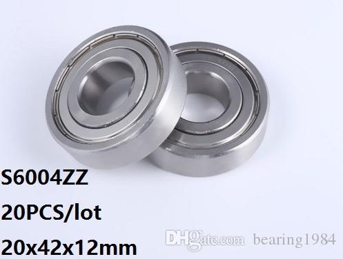 20pcs / lot S6004ZZ Lager 20 * 42 * 12mm S6004Z S6004 Z ZZ Edelstahl-Rillenkugellager 20x42x12mm