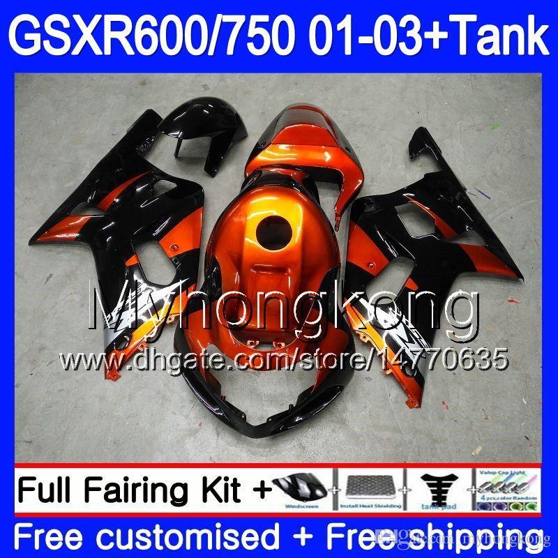 +鈴木GSX-R750 GSXR 750 600 K1 GSXR600 01 02 03 294HM.0 GSX R600 R750 GSXR-600 GSXR750 2001 2002 2003フェアリンググロスオレンジブラック