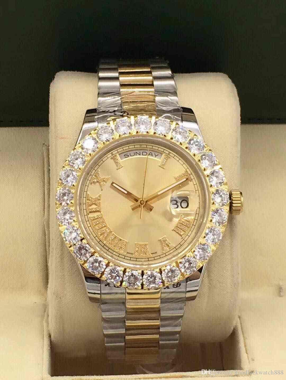 2019 montre de luxe nouveau journal des hommes 42mm en acier inoxydable automatique lumineux montre à eau étanche à l'eau romaine littéral grand diamant montre de luxe