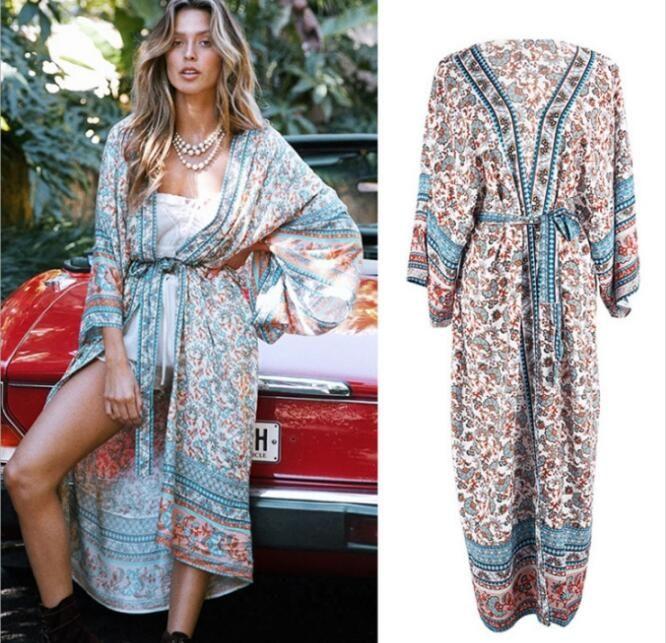 2020 Women Swimwear Cover-ups Bohemian Printed Long Kimono Cardigan Cotton Tunic Female Plus Size Beach Weight Cover Up Beachwear