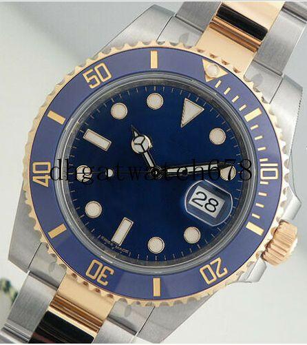 LuxuxMens Watche Qualitäts-Box blau Keramik-Lünette blau Dial 40mm 16613 Edelstahl mechanische automatische Mens Watche