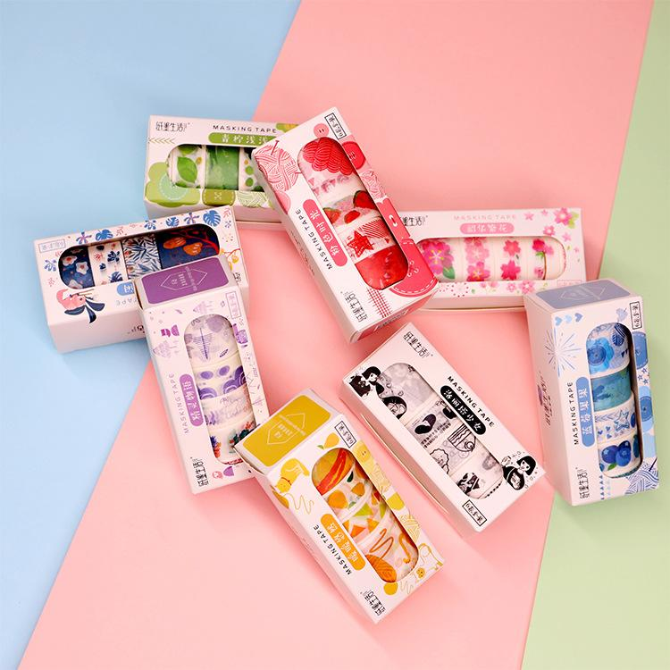 10 takım / 1 grup DIY Japon Kağıt Dekoratif Yapışkan Bant Pembe Zaman Serisi Washi Bant / Maskeleme bandı Etiketler 2016
