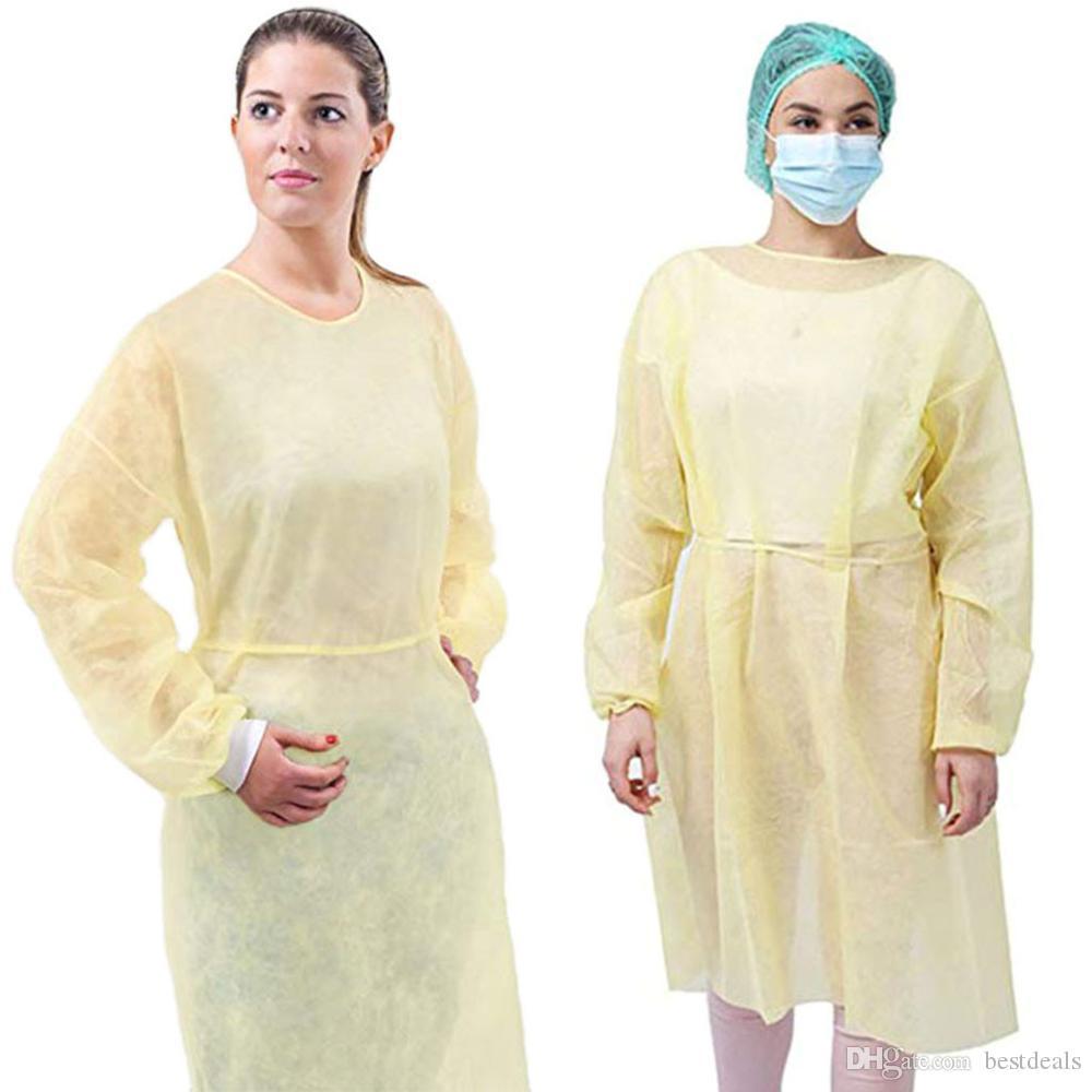 Защита DHL Мантия Одноразовая защитная изоляция платье пылезащитный Комбинезон Для женщин Для мужчин Anti-туман анти-частиц изоляции Костюм водонепроницаемый