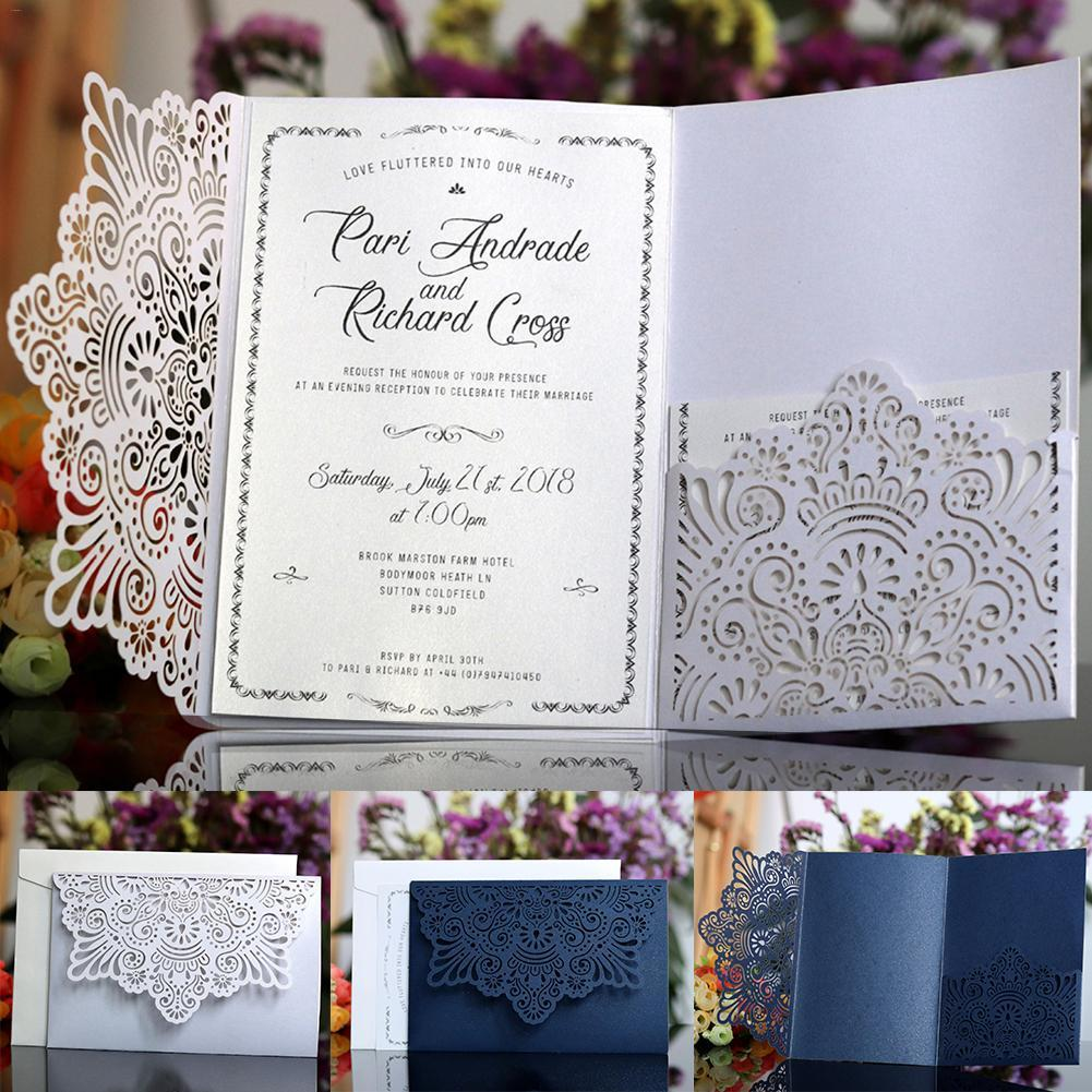 10PCS Wedding Cards European style Lace Wedding Invitations Card Laser Cut Tri-Fold Business Invitation Cards New Year
